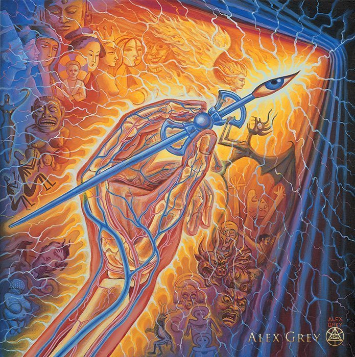 Artist's Hand by Alex Grey, 1997