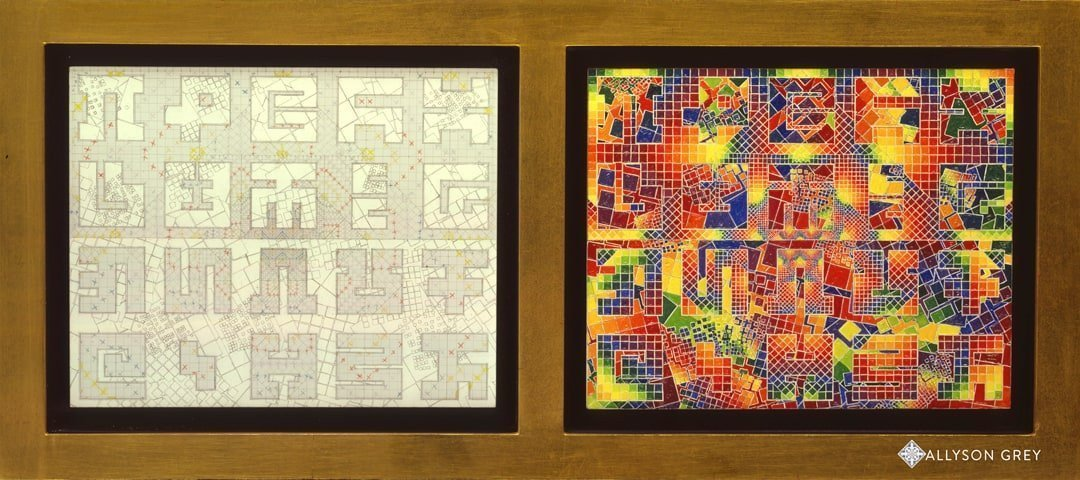 Deconstructed Harlequin Diptych by Allyson Grey, 2006