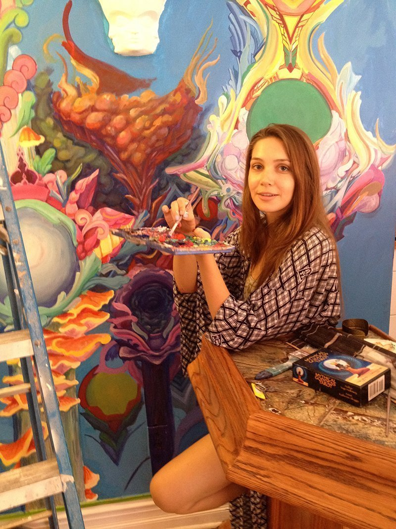 Joness Jones painting Mushroom Cafe mural