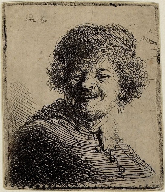 Self-portrait in a Cap, Laughing by Rembrandt van Rijn, 1630